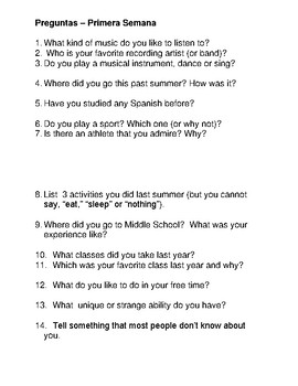 First day of school icebreaker questions Spanish 1