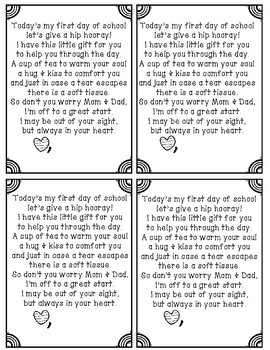 First day of school parent gift poem