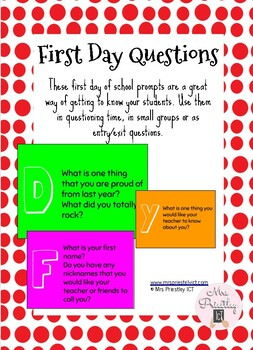 First day of school questions