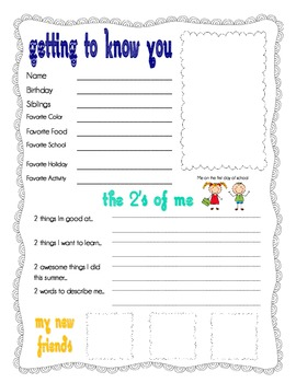 First day of school student packet