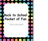 First day of school Packet of Fun