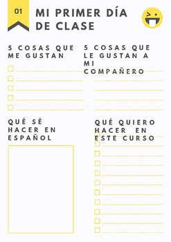 First day sheet for Spanish lessons