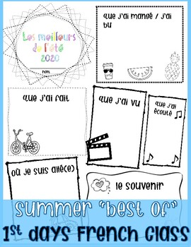 First days of French Class: Best of My Summer Worksheet