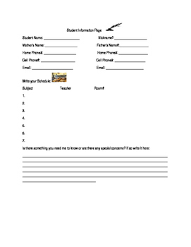 First days of school information card