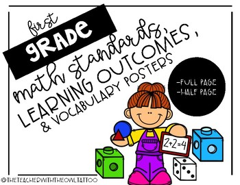 First grade Common Core Math Standards, Learning Outcome, and Vocabulary Posters