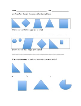 First grade Common Core Math Unit test 3 Geometry
