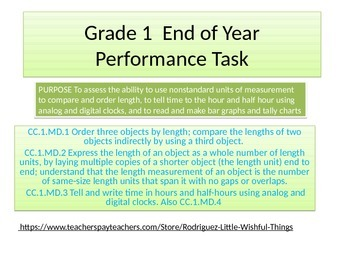 First grade End of Year performance task 2015 version