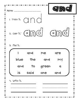 sight words worksheets pdf australia