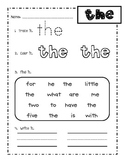 First grade Fry words 1-25 sight word practice worksheets!