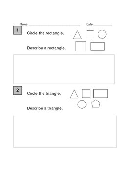 First grade Geometry Pre and Post Assessment