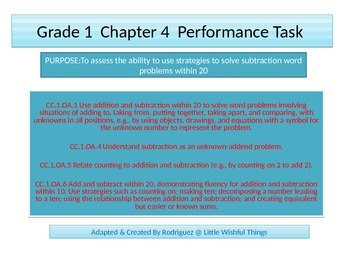 First grade  Performance task Chapter 4