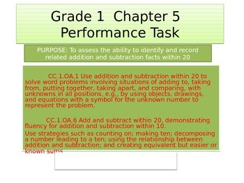 First grade Math Performance task Chapter 5