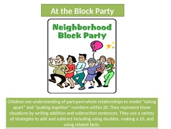 "First grade   Math Critical Area 1 ""Block Party""Performance task"
