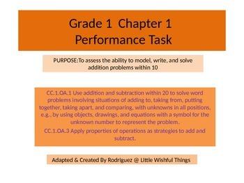 First grade chapter 1 Math performance task