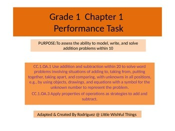 First grade chapter 1 Math performance task