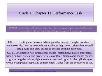 First grade  chapter 11 Math Performance task
