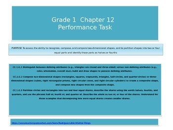 First grade chapter 12 Math Performance task