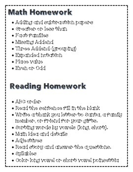 First grade Homework packet for Holiday Break- COMMON CORE