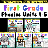 First Grade Phonics Units 1-5 Bundle Distance Learning Printables