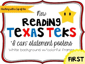 First grade Reading TEKS Posters {white background w/colorful frames}