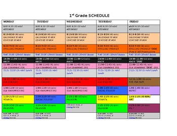 First grade Schedule color coded Editable