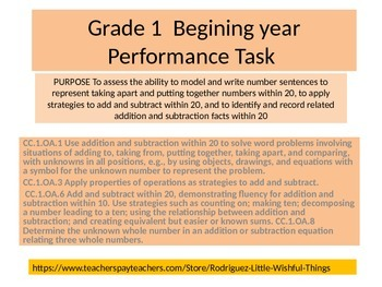 First grade Beginning of Year Math Performance task 2015 version