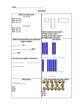 First grade common core math boxes