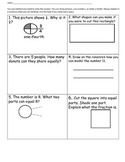 First grade math assessment on shapes, fractions, and number concepts