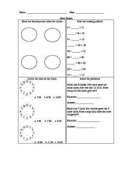 First grade-math common core boxes