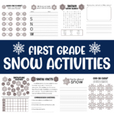 First grade snow no prep worksheets - math and language arts