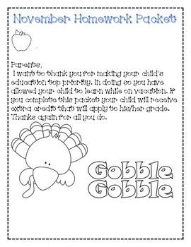 First grade thanksgiving homework packet