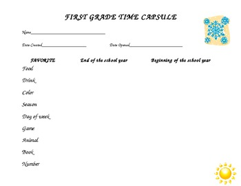 First grade time capsule