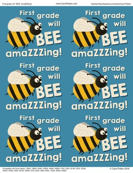 First grade will be amazing! - Goodie bag labels - Back to school - End of Year