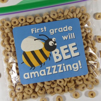 """First grade will be amazing!"" - Goodie bag labels for bac"