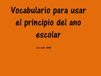 First month centers vocabulary