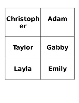 First name flashcards editable
