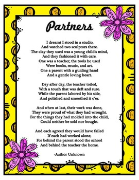 First or End of the Year Teacher to Parent PARTNER POEM