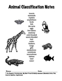 First or Second Grade Forms / Worksheets for Notes on Animal Classification