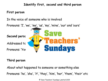 First, second and third person / 1st, 2nd and 3rd person Worksheet