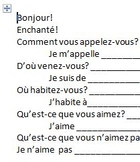 First semester of French basic interview activity