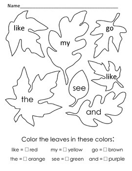 First sight word fall leaves coloring page. like, the, my, and, see, go