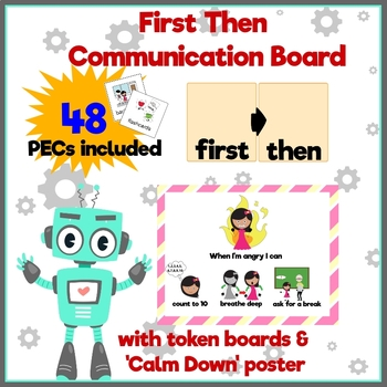 First then schedule w/picture cards, token boards & calm down mini poster BUNDLE