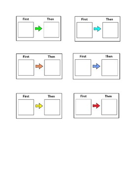 Special education:  First then visuals-multiple colors and sizes