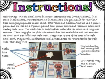 First to Four!  Super Heroes Main Idea & Details Game