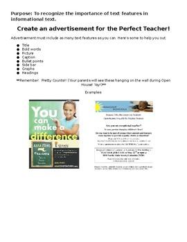 First week of School Activity: Teachers Wanted Advertisement