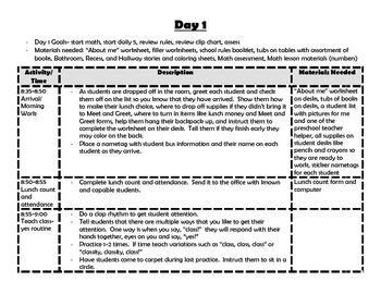 First week of first grade plans