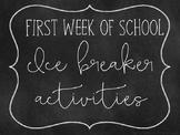 First week of school- ice breaker activities
