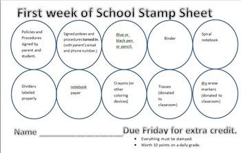 First week of school stamp sheet- editable