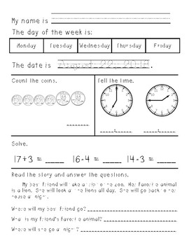 First/Second Grade Morning Work August through December w/ Double Digit Addition