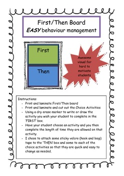 First/Then Board - Visual for Behavior Management